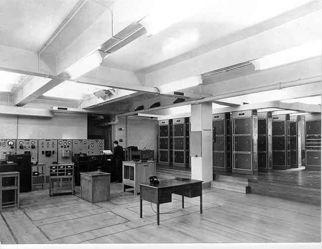 LEO I. On the left are the input devices such as the punched card reader. On the right of the racks of valves.